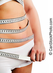 Woman measuring perfect shape of beautiful thigh.