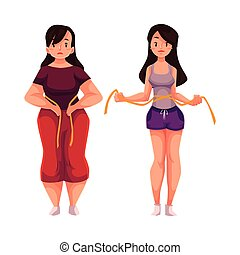 Woman measuring waist before and after loosing weight, ...