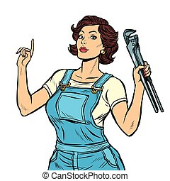 woman mechanic with a wrench isolate on white background. ...
