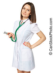 Woman medical doctor with stethoscope. Isolated over white background.