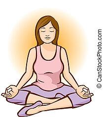 Woman Meditating (Aura) - Woman meditating with an orange...