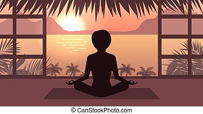 Woman Meditating in Pose Lotus, Sunrise or Sunset, Sea,...