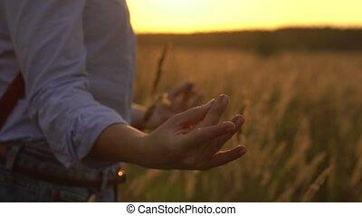 Woman Meditating in Sunny Summer Evening