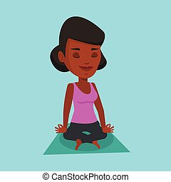 Woman meditating in yoga lotus pose.
