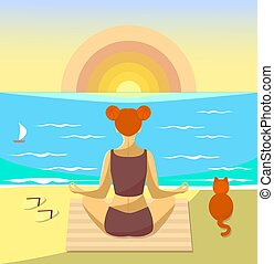 Woman meditating on a beach. Vector illustration. Girl sit with a cat and watch the sunset over the sea.