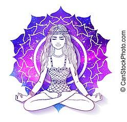 Woman meditating on Sahasrara chakra background