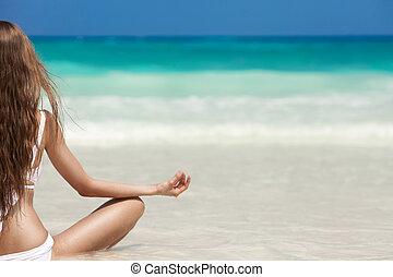 Woman Meditation At Tropical Beach