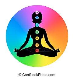 Woman. Meditation. - Vector illustration of female...