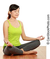 woman meditation - portrait of healthy woman doing ...