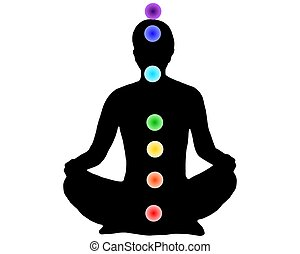 Woman meditation with the 7 chakras