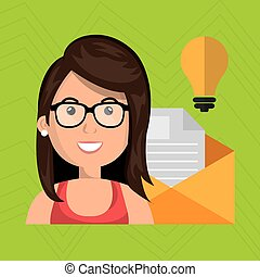 woman message document icon