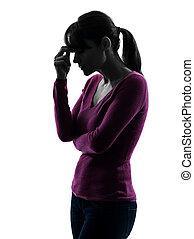 woman migraine headache portrait silhouette
