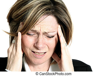 woman migraine - businesswoman migraine