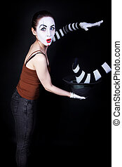 Woman mime performing focus