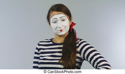 Woman mime shows fan of dollars. Concept: possible win -...