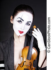 woman mime with old violin