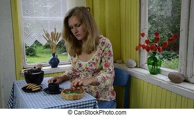 woman mint herb tea