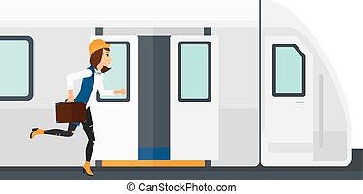 Woman missing train.