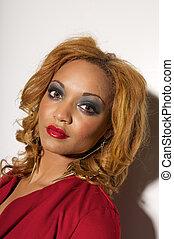 Woman Model Head Shot at studio photo shoot.