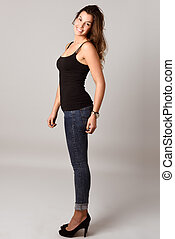 Woman, model of fashion, wearing casual clothes