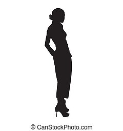Woman model standing in high heels shoes, posing female model in trousers with hands in pockets. Isolated vector silhouette