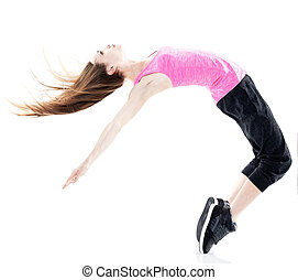 woman modern dancer dancing isolated