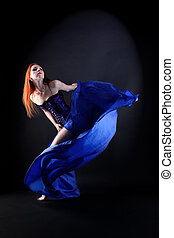 woman modern dancer in ballroom