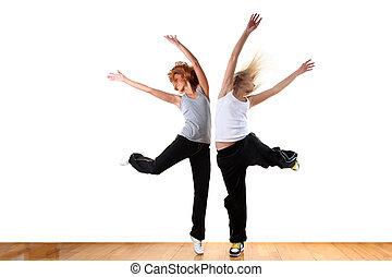 woman modern sport ballet dancer in ballroom