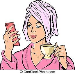 woman morning bathroom coffee smartphone