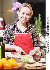 woman mosolyog, főzés, konyha, neki