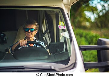 Woman Motorhome Road Trip