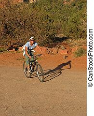 woman mountain biker