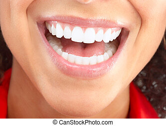 woman mouth - Beautiful young woman teeth. Isolated over...