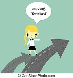 woman move forward