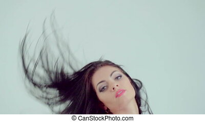 woman moving long hair - Beautiful woman moving long...
