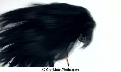 Woman moving long hair super slow motion