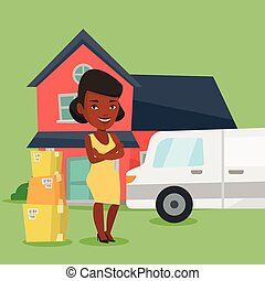 Woman moving to house vector illustration. - Homeowner ...
