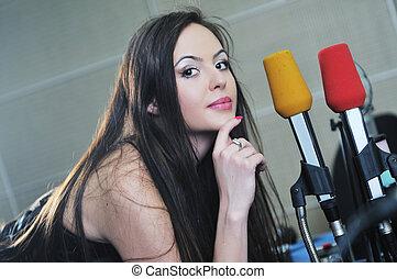 woman music studio