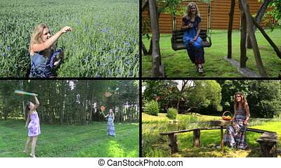 woman nature collage