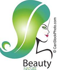 Woman nature hair logo