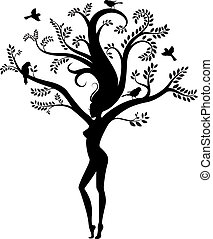 woman nature with birds. vector illustration