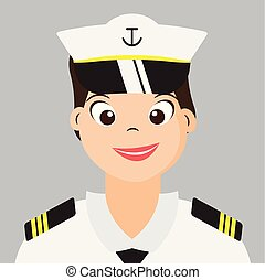 Woman Naval With Navy uniform,Smiling Cartoon character design,vector,illustration.