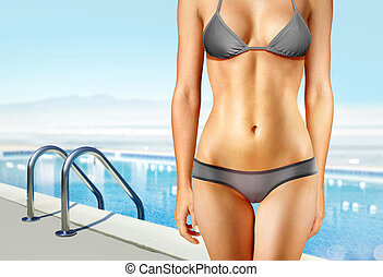woman near swimming pool l