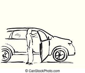 Woman near the car. Sketching vector illustration.