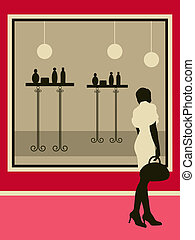 Woman near the showcase. Vector illustration.