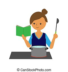woman near the stove cooks dinner in a saucepan