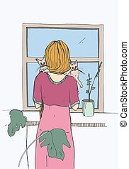 Woman near the window with cats. Vector illustration.