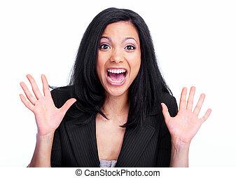 woman., negócio, feliz