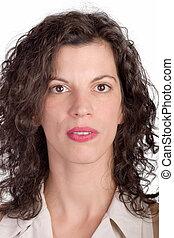 woman neutral portrait - brunette woman with neutral ...