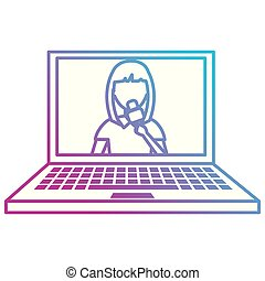 woman news reporter in laptop character